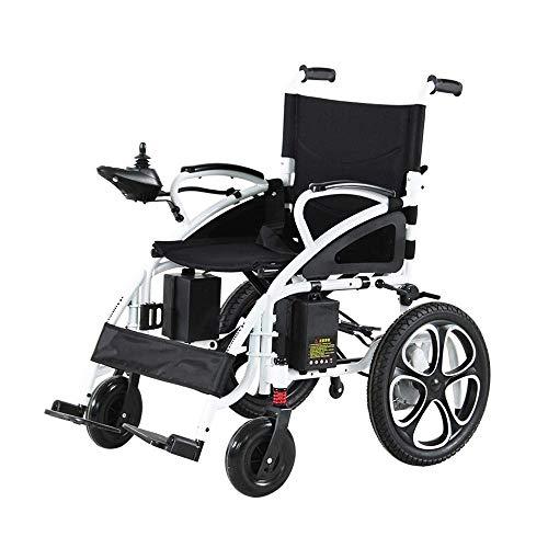 CCLLA Elektrorollstuhl Klappbar, aus Aluminiumlegierung, mit Zwei leistungsstarken Motoren, sicheren und einfach zu fahrenden Rollstühlen für ältere behinderte und behinderte Rollstühle (Größe: Li