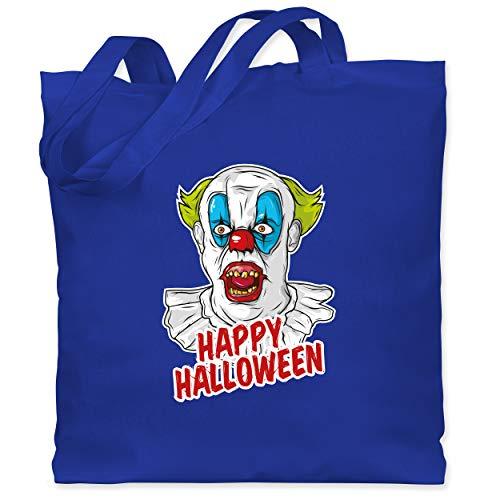 Shirtracer Halloween - Happy Halloween - Clown - Unisize - Royalblau WM101 - Stoffbeutel aus Baumwolle Jutebeutel lange Henkel