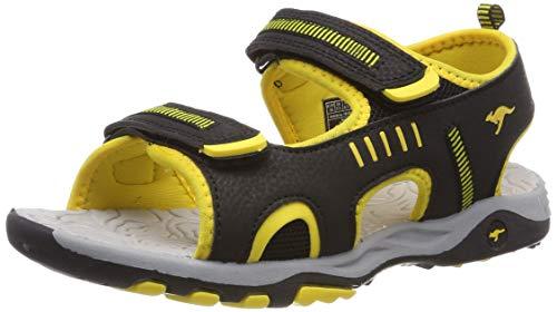 KangaROOS K-Logan Unisex-Kinder Sneaker, Schwarz (Jet Black/Sun Yellow 5028), 34 EU