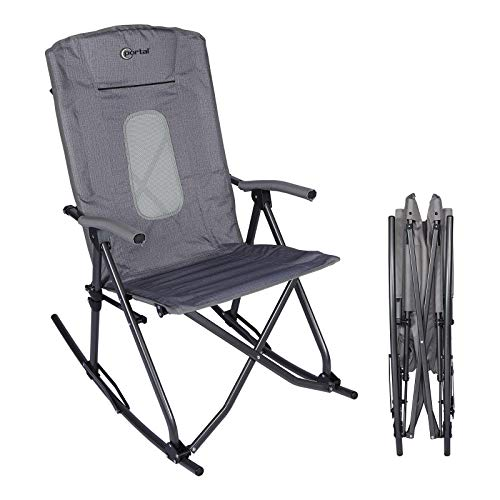 PORTAL Oversized Quad Folding Camping Rocking Chair High Back Hard Armrest Carry Bag Included, Support 300 lbs (Dark Grey)