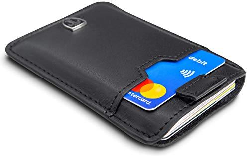 TRAVANDO ® Tarjetera con SEGURIDAD RFID, PROTECCIÓN hasta 12 tarjetas (Crédito) - Billetera Fina - Pinza para Billetes - Cartera Pequeña - Estuche para Hombres
