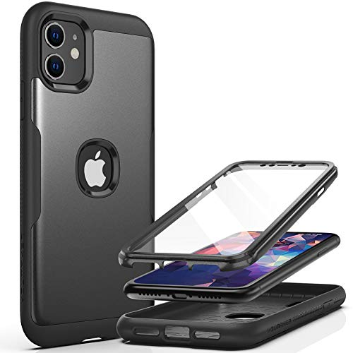 YOUMAKER Metallic Designed for iPhone 11 Case, Full Body Rugged with Built-in Screen Protector Heavy Duty Protection Slim Fit Shockproof Cover for iPhone 11 Case 6.1 Inch-Black