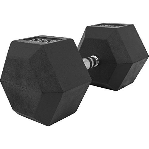 GORILLA SPORTS Hexagon Gummi Studio Hantel 2-50 KG | Gummi Beschichtung | Chrom Griff Farbe 47,5 KG