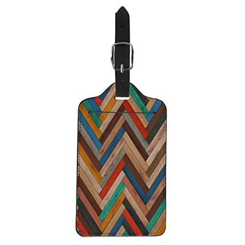 Pinbeam Luggage Tag Colorful Pattern Wood Parquet Herringbone Clipart Chevron Arrow Suitcase Baggage Label
