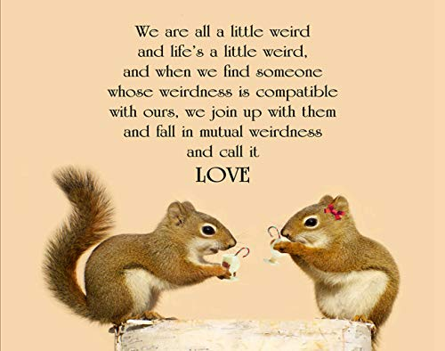 Guftay Funny Jigsaw Puzzles 1000 Pieces for Adults Quote Love Dr Suess Cute Pair of Squirrels in Enjoying Some Eggnog Wooden DIY Puzzle Classic Games for Friend Or Family 20x30 Inch