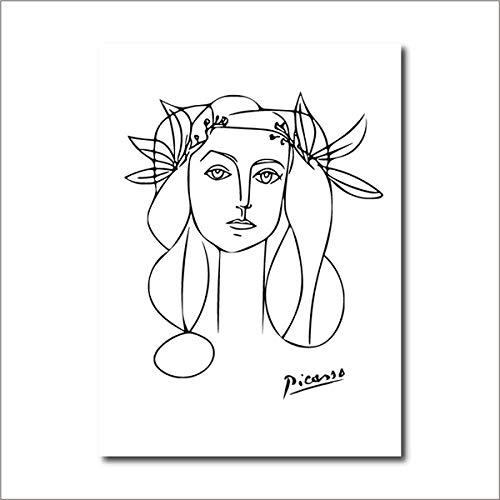 Cqzk Mädchen Gesicht Skizze Wandkunst Bilder für Wohnzimmer Picasso Bild Leinwand Gemälde Schwarz Weiß Leinwand Poster Modern Home Wanddekoration 40 × 60cm Rahmenlos