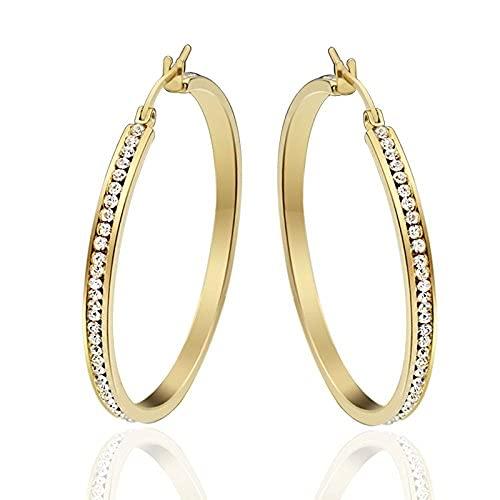 Pendientes de aro grandes antialérgicos chapados en oro con círculo redondo de Zricon de diamante simulado de acero inoxidable SMEJS para mujer