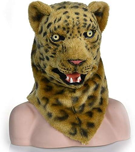 Meipa Time Leopard-Kopfmaske-Jaguar-Kopfbedeckung, die Mund-Kunstpelz Erwachsene Kostüm Maske bewegt (Farbe   Gelb, Größe   25  25)