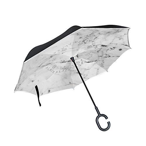 Piedra De Mármol Blanco De Arte Paraguas Invertido Doble Capa Inverso Reverso con Mango en Forma de C Paraguas de Plegado para Automóviles en Exteriores