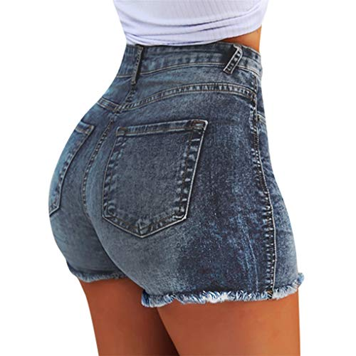 Dorical Damen Kunstleder Hohe Taille Shorts, Schwarz Sexy Hotpants Kostüm Basic Pants Leggings Kunstleder-Optik Kurze Hose (S, 1A-Dunkelblau)