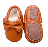 Bebila Baby Moccasins for Girls Boys - Fur Fleece Lined Baby Shoes Autumn Winter Warm Genuine Leather Infants Slippers with Rubber Sole (8 M US Toddler, Brown)