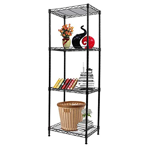 YOHKOH 4-Tier Wire Shelving Unit Metal Storage Rack Adjustable Organizer Perfect for Pantry Laundry Bathroom Kitchen Closet Organization (Black) Colorado