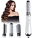 Hair Dryer Brush, Blow Dryer Brush, 5 in 1 Newest Hair Dryer and Volumizer Set with Interchangeable Brush Head for Rotating Straightening, Curling, Salon Negative Ion Ceramic Hot Air Brush Comb