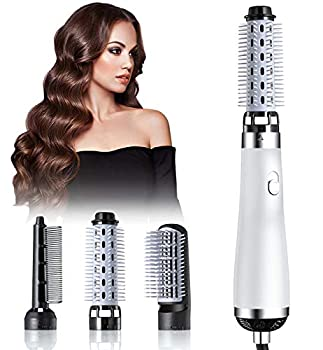 Hair Dryer Brush Blow Dryer Brush 5 in 1 Newest Hair Dryer and Volumizer Set with Interchangeable Brush Head for Rotating Straightening Curling Salon Negative Ion Hot Air Brush Comb