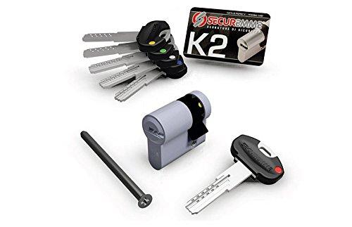 securemme K2Dezentrierter Sicherheits vernickelt 40mm 30–10Profil EU 3Schlüssel 10spine Sicherheit Schutz einbruchsicher