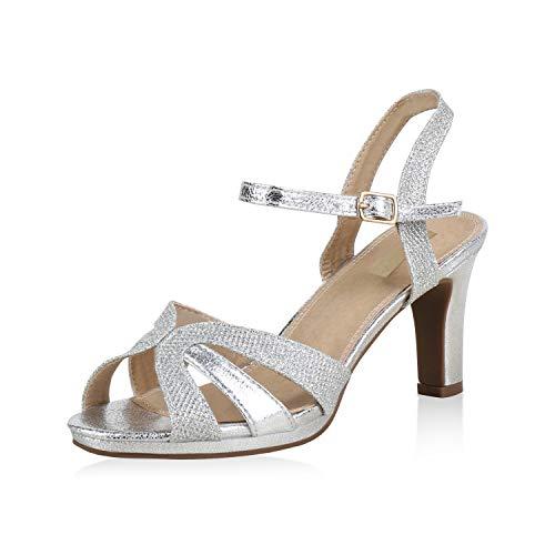 SCARPE VITA Damen Riemchensandaletten Glitzer Party Sandaletten High Heels 173356 Silber Silver Glitzer 37