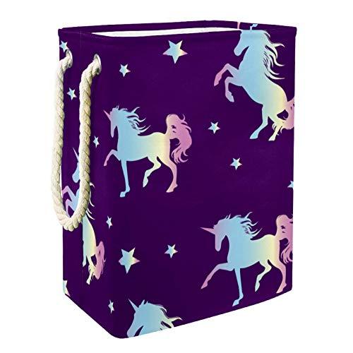 VFSS Cesto de lavandería, grande con asas, cesto de lavandería, tela Oxford impermeable, bolsa de almacenamiento de ropa, organización para baño, silueta de unicornio
