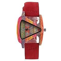木製腕時計 ユニークな三角形の中空木製腕時計 クリエイティブなレザーウォッチ 竹製腕時計 ブレスレット