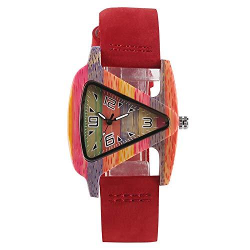 Holz-Armbanduhr, leicht, dreieckig, hohl, Kreative Leder-Uhr, Bambus-Armband