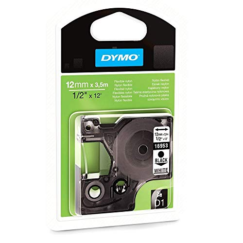 Best Prices! Dymo Dymo D1 Tape, Black Print/ White Fabric, 1/2in X 11 1/2ft