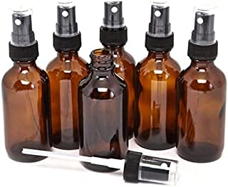 PACK of 6-100ml AMBER GLASS Bottles with Black ATOMISER