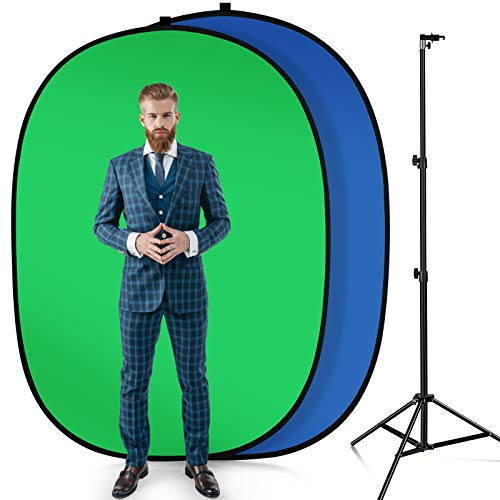 MAUO Portable 5'X7' Chromakey Blue and Green 2-in-1 Green Screen Backdrop with Stand Collapsible Chair Green Screen Kit for Video Recording Camera or Streaming