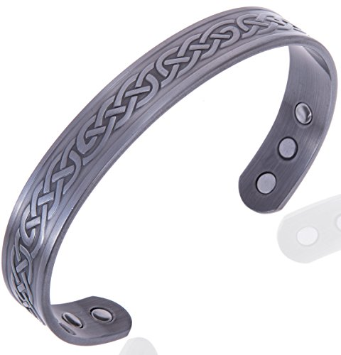 Celtic Pewter Magnetic Healing Bracelet for Arthritis, Carpal Tunnel, and Joint Pain Relief – Adjustable Sizing - Earth Therapy