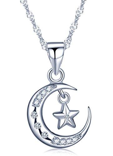 Unendlich U Elegant Mondsichel Mond Stern Damen Halskette 925 Sterling Silber Zirkonia Anhänger Kette mit Anhänger, Silber