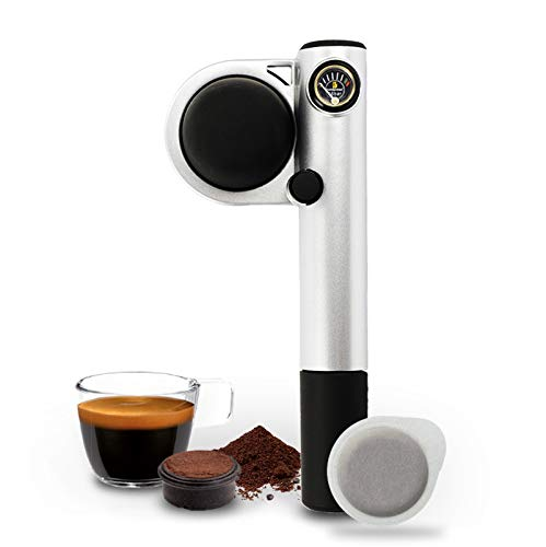 Handpresso 48256 Pump silber - tragbare, manuelle Espressomaschine für ESE-Pads oder gemahlenen Kaffee