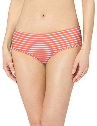 Amazon Essentials Hipster Bikini fashion-swimsuit-bottoms-separates, Red (Red & Pink Stripe), L
