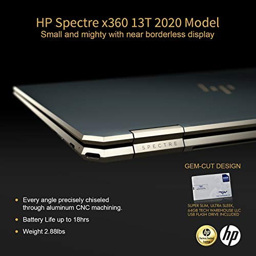 Product Image 1: HP Spectre x360 GEM Cut 13.3″ FHD Touch Laptop, Intel i7-1065G7, 16GB RAM, 512GB SSD, Bang & Olufsen, Fingerprint Reader, HP Stylus, Nightfall Black, Win 10 Home, 64GB TechWarehouse Flash Drive