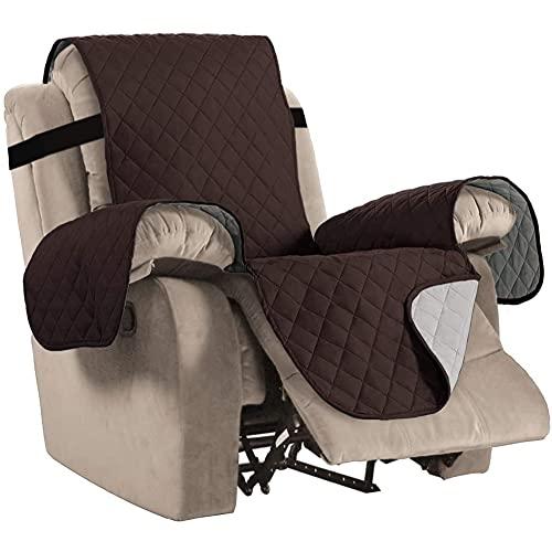BXFUL Sesselschoner Relaxsessel Sesselauflage Relax, Sofaüberwurf 1 Sitzer Sesselschutz für Ledersofa, rutschfeste Recliner-Schutzhülle für Haustiere (M,Braun)