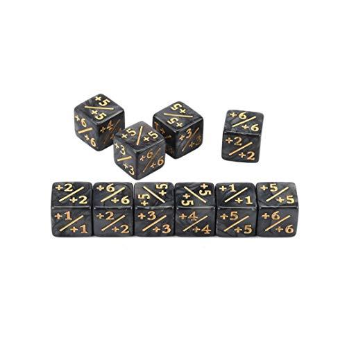 Nihlsfen 10x Würfelzähler 5 Positiv + 1 / + 1 & 5 Negativ -1 / -1 Für Magie Das Sammeltischspiel Lustige Würfel Hohe Qualität - Schwarz