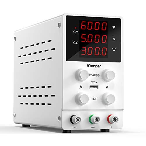 Kungber Alimentatore da Banco 0-60 V/ 0-5 A, Laboratorio Regolato a Commutazione Regolabile, Display LED a 4 Cifre