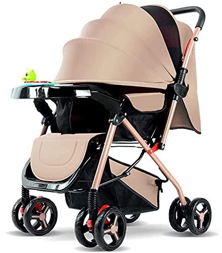 Cochecito de bebé liviano portátil Cochecito de bebé Cochecito plegable Buggies de dos vías puede sentarse y sentarse livianos carro para bebés para recién nacidos y niños pequeños (Color : Brown)