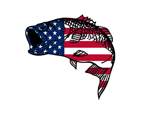 Rogue River Tactical Bass Fish USA Flag Sticker Decal Fishing Bumper Sticker...