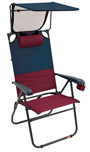 """Rio Gear Hi-Boy 17"""" Extended Seat Height Folding Aluminum Canopy Chair - Charcoal/Oxblood"""