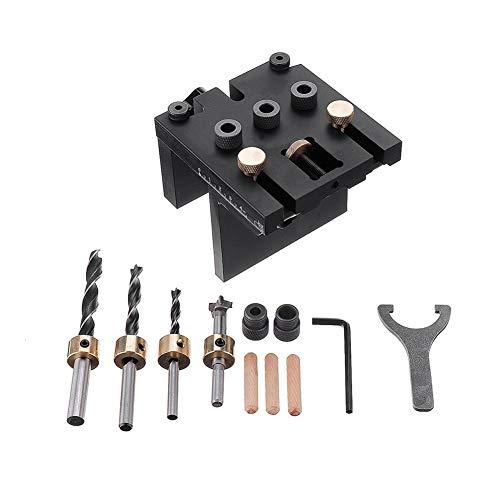 Compacto Aleación de aluminio 3 en 1 cajeadoras Jig 6/8 / / 15mm Herramienta 10 Guía de perforación de madera Localizador ajustable Pasador Jig Kit de carpintería for DIY Cómodo ( Color : Black )