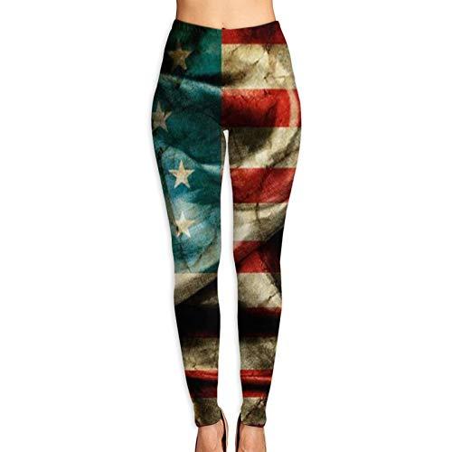 Vizor Women's Printed Leggings Retro American Flag Ultra Soft Ankle Length Elastic Tights