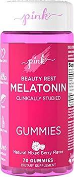 Pink Melatonin Gummies   10mg   Max Potency   70 Vegan Non-GMO & Gluten Free Gummies   Mixed Berry Flavor