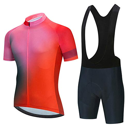HXTSWGS Ropa Ciclismo Verano para Hombre Ciclismo Maillot,Summer Breathable Cycling Jersey Set Team Racing Jersey Sport Bicycle Shirt Pro Men Cycling Clothing-A09_L