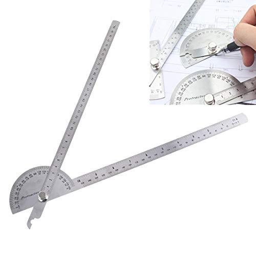 OriGlam Winkelmesser aus Edelstahl, 0-180 Grad, Winkelmesser mit beiden Armen, Winkelmesser, Winkelfinder, Handwerker, Lineal