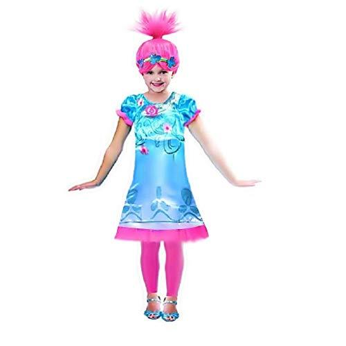 EVRYLON Kostüm und Perücke Mohn Mädchen Verkleidung Karneval Geschenkidee Größe 140 7 8 Jahre Trolls Poppy Halloween Cosplay
