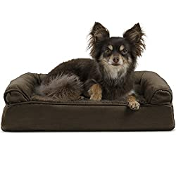 Furhaven Pet Dog Bed Orthopedic Plush Faux Fur Suede Sofa-Style