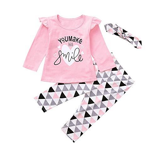 Fossen Ropa Bebe Niñas Camisetas de Manga Larga y Pantalones con Cintas de Pelo Recien Nacido Niñas Ropa Otoño/Invierno (3 Piezas)