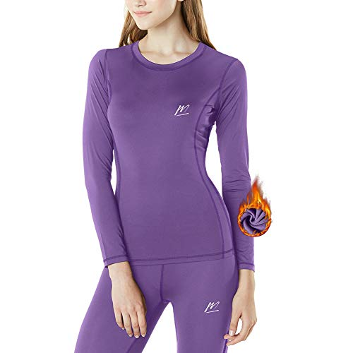 MeetHoo Thermal Underwear for Women, Winter Warm Base Layer Compression Set, Fleece Lined Long Johns Running Skiing Purple
