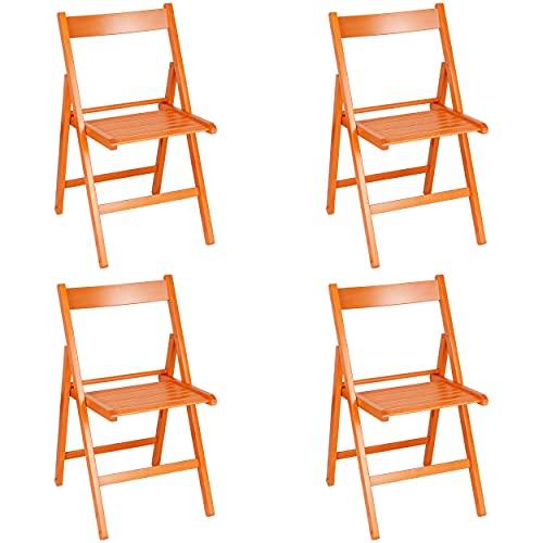 Totò Piccinni Set 4 SEDIE Pieghevoli Legno di Alta qualità, Comode, Resistenti, Salvaspazio (Arancione)