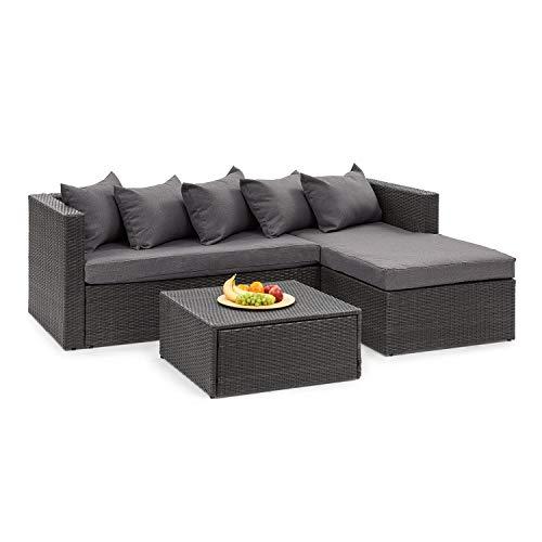 blumfeldt Theia Lounge Juego de Exteriores con sofá - Lote de 2 Piezas: Asientos para la Esquina y Mesa, Cojín de 10 cm, 5 Cojines, Incluye Lona para la Lluvia y Fundas Gris Oscuro, Ratán: Negro