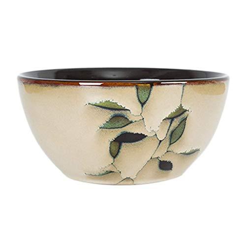 Dljyy Tazón de cerámica Coreana Vajilla Comercial Hogar Vajilla Plato de Arroz Pintado a Mano Impresión vidriada translúcida y Delicada (Color : Beige, Size : 11 * 6CM)