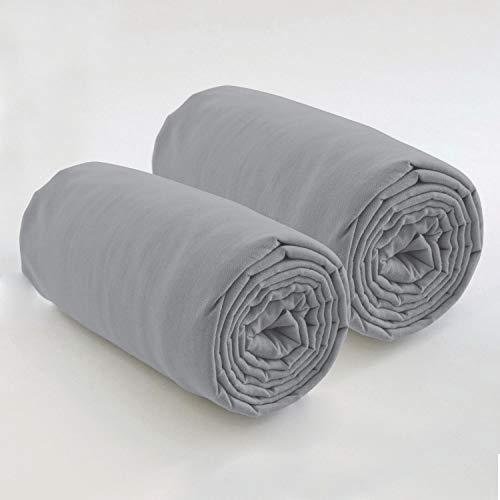 Les Ateliers du Linge – Lot de 2 draps Housses 80x200 cm – pour Lits à sommier articulé - Tissu Lavable 100% Coton – Couleur Unie